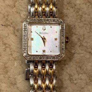 Bulova 98R132 MOP Diamond Case Watch.
